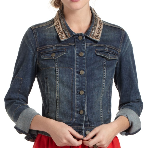 Anthropologie Jackets & Blazers - Anthro Holding Horses Embellished Denim Jacket